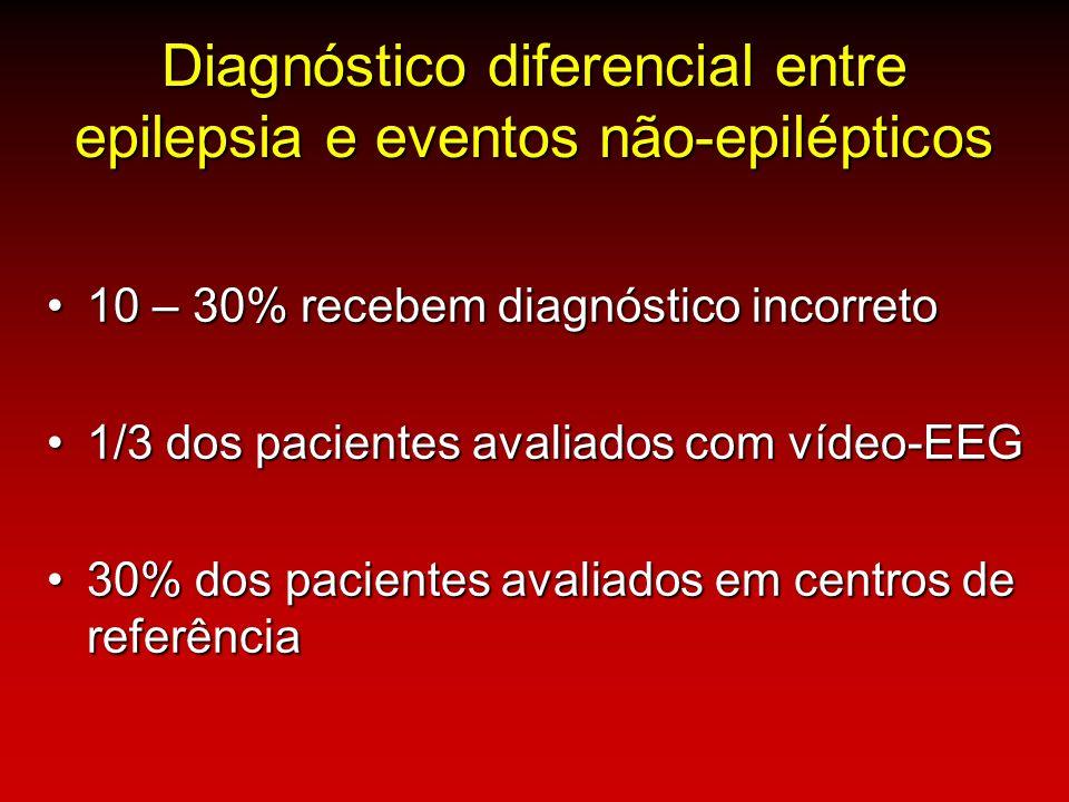 Diagnóstico diferencial entre epilepsia e eventos não-epilépticos 10 – 30% recebem diagnóstico incorreto10 – 30% recebem diagnóstico incorreto 1/3 dos