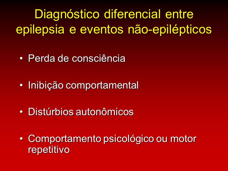 Diagnóstico diferencial entre epilepsia e eventos não-epilépticos Perda de consciênciaPerda de consciência Inibição comportamentalInibição comportamen