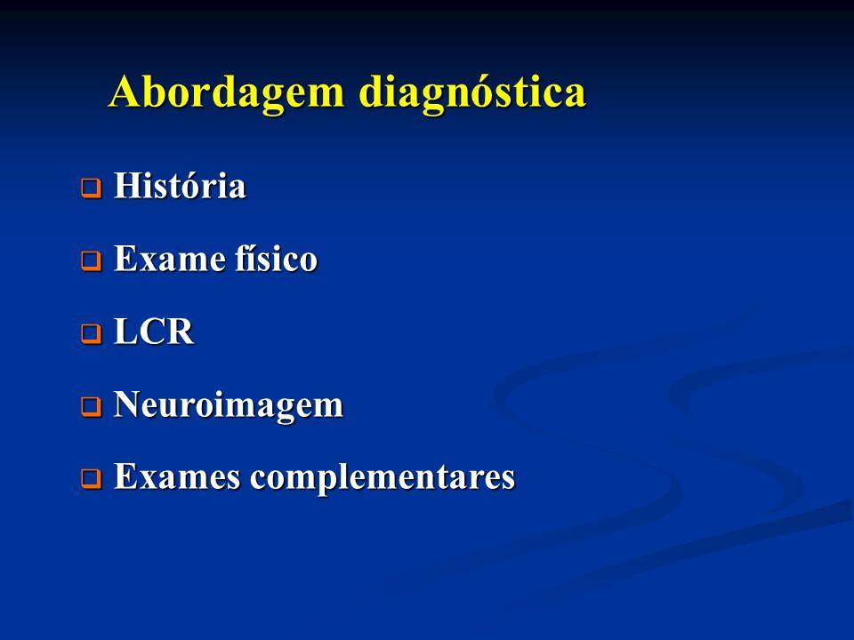 Abordagem diagnóstica Abordagem diagnóstica História História Exame físico Exame físico LCR LCR Neuroimagem Neuroimagem Exames complementares Exames c