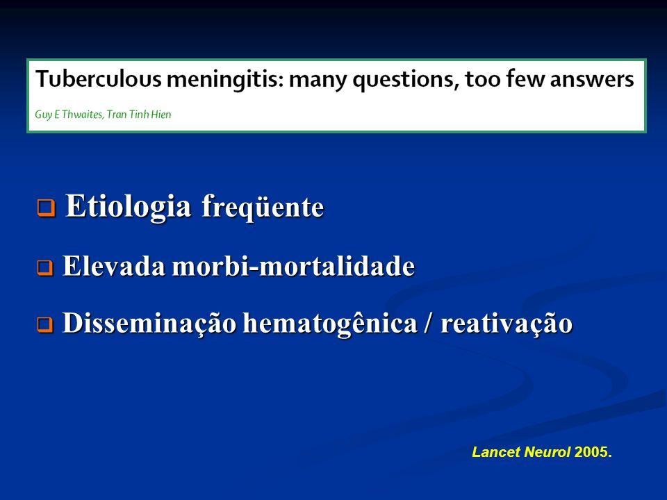 Lancet Neurol 2005. Etiologia f reqüente Etiologia f reqüente Elevada morbi-mortalidade Elevada morbi-mortalidade Disseminação hematogênica / reativaç
