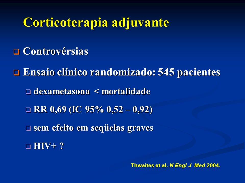 Corticoterapia adjuvante Corticoterapia adjuvante Controvérsias Controvérsias Ensaio clínico randomizado: 545 pacientes Ensaio clínico randomizado: 54