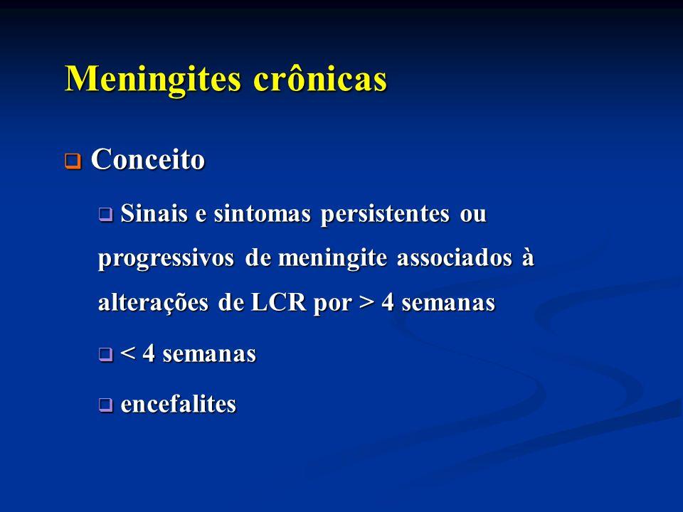 Meningites crônicas Meningites crônicas Elevada morbi-mortalidade Elevada morbi-mortalidade Incidência Incidência etiologia etiologia 10% do total de meningites 10% do total de meningites 1/3 sem diagnóstico 1/3 sem diagnóstico