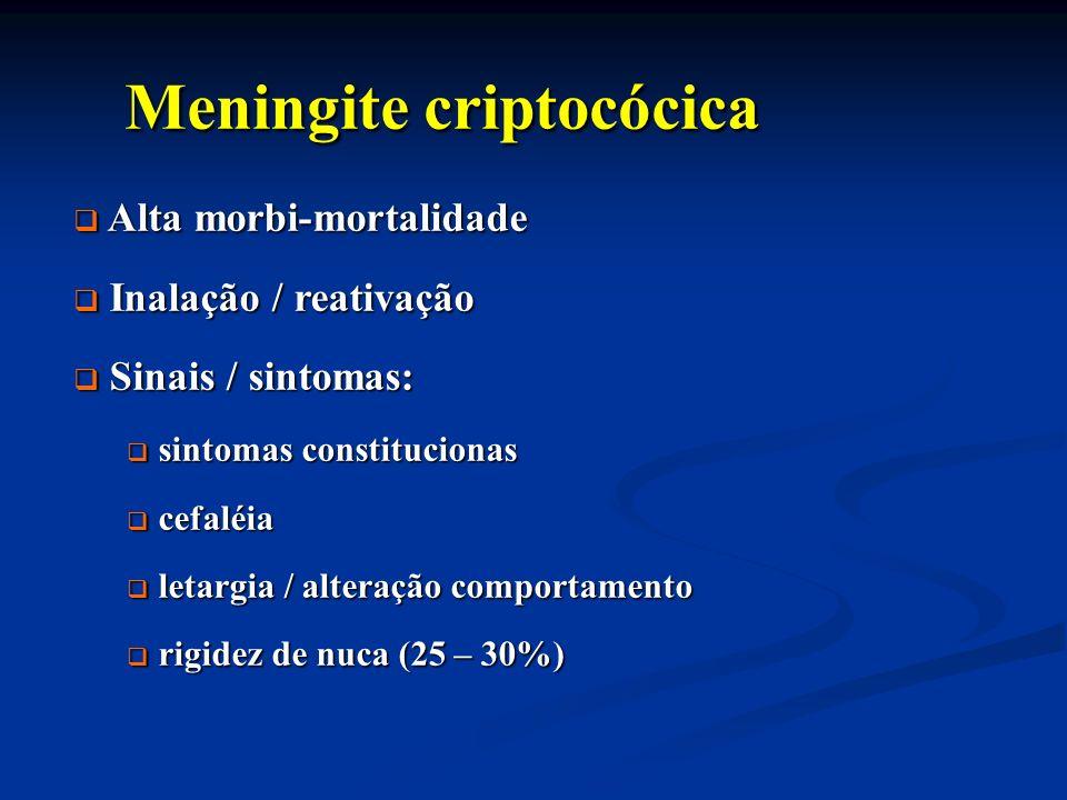 Meningite criptocócica Meningite criptocócica Alta morbi-mortalidade Alta morbi-mortalidade Inalação / reativação Inalação / reativação Sinais / sinto
