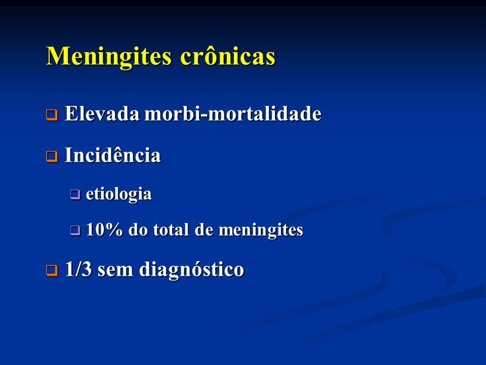 Meningites crônicas Meningites crônicas Elevada morbi-mortalidade Elevada morbi-mortalidade Incidência Incidência etiologia etiologia 10% do total de