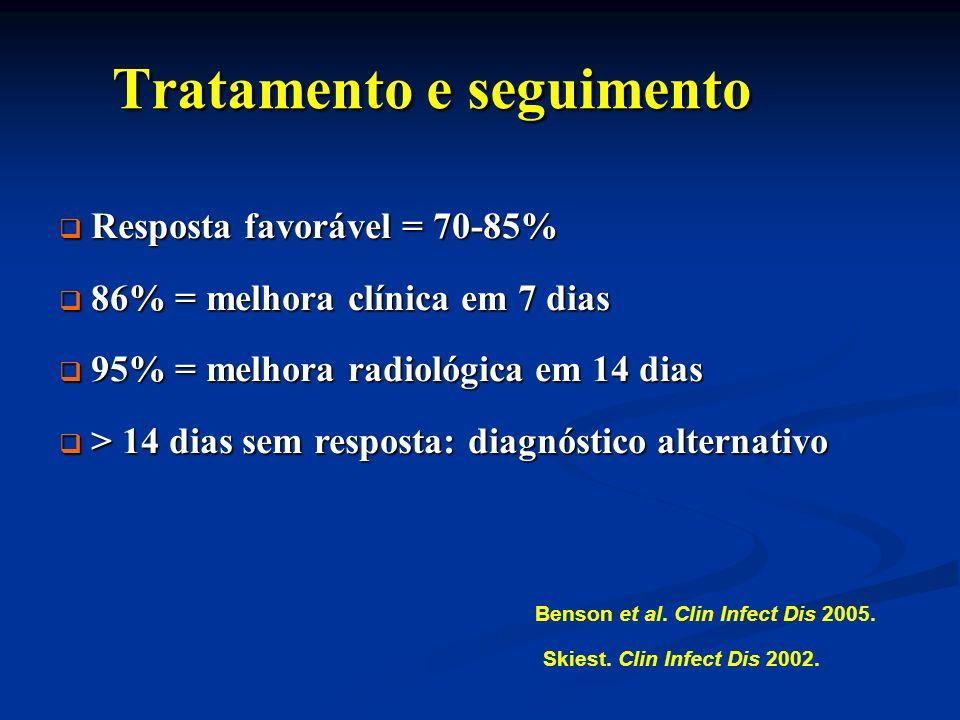 Tratamento e seguimento Tratamento e seguimento Resposta favorável = 70-85% Resposta favorável = 70-85% 86% = melhora clínica em 7 dias 86% = melhora