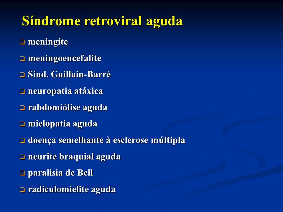 meningite meningite meningoencefalite meningoencefalite Sínd. Guillain-Barré Sínd. Guillain-Barré neuropatia atáxica neuropatia atáxica rabdomiólise a
