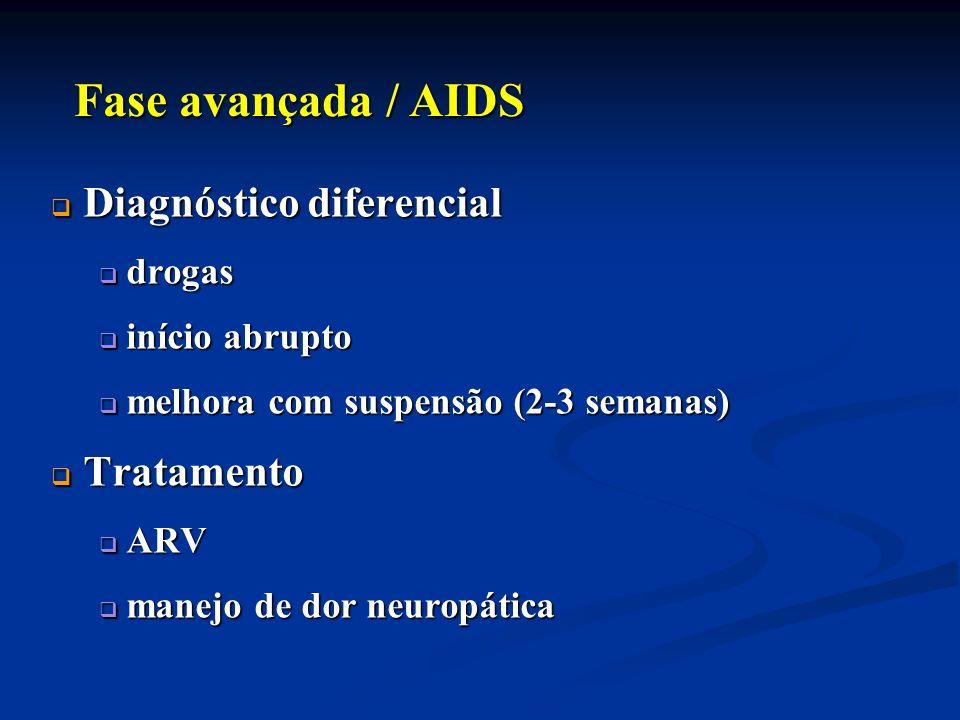 Diagnóstico diferencial Diagnóstico diferencial drogas drogas início abrupto início abrupto melhora com suspensão (2-3 semanas) melhora com suspensão