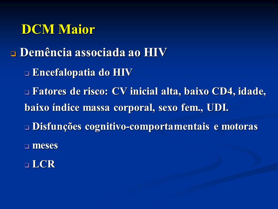 Demência associada ao HIV Demência associada ao HIV Encefalopatia do HIV Encefalopatia do HIV Fatores de risco: CV inicial alta, baixo CD4, idade, bai