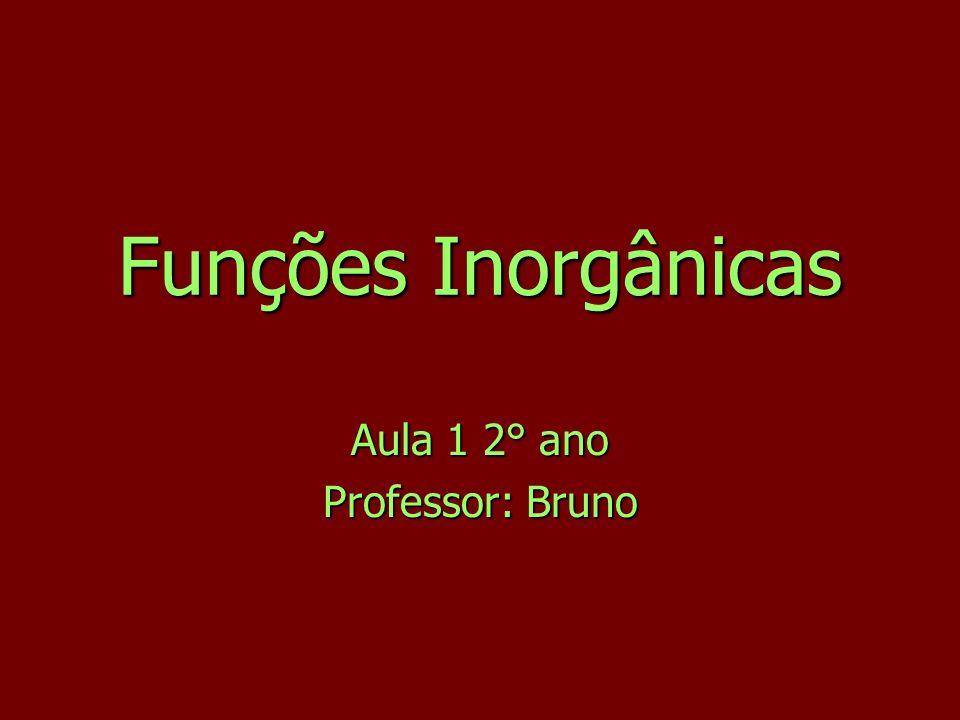 Funções Inorgânicas Aula 1 2° ano Professor: Bruno