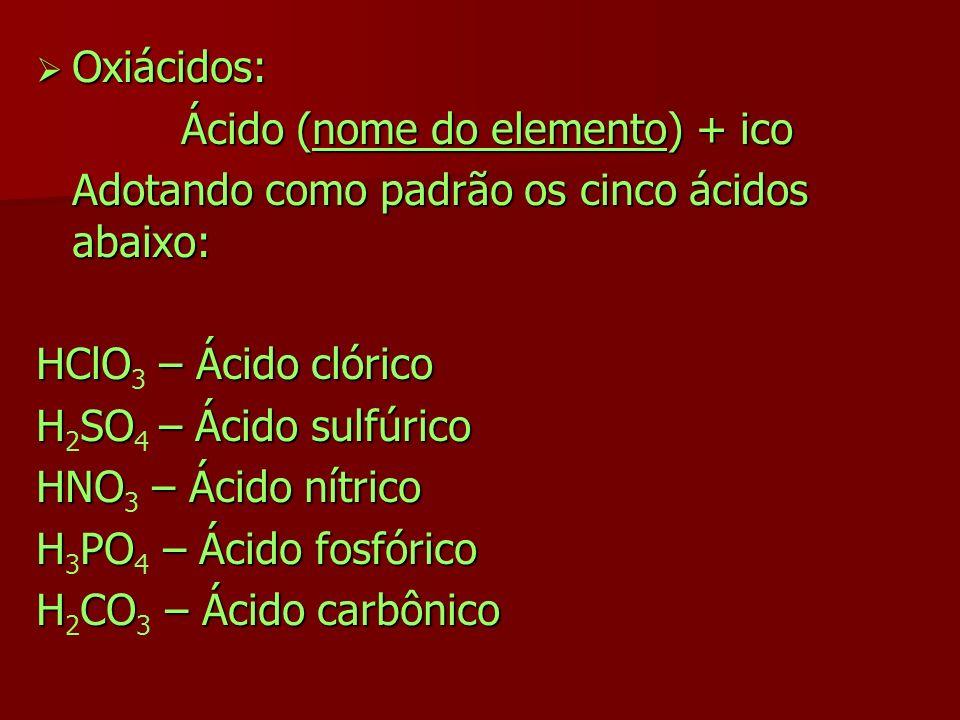 Oxiácidos: Oxiácidos: Ácido (nome do elemento) + ico Adotando como padrão os cinco ácidos abaixo: HClO – Ácido clórico HClO 3 – Ácido clórico HSO– Áci