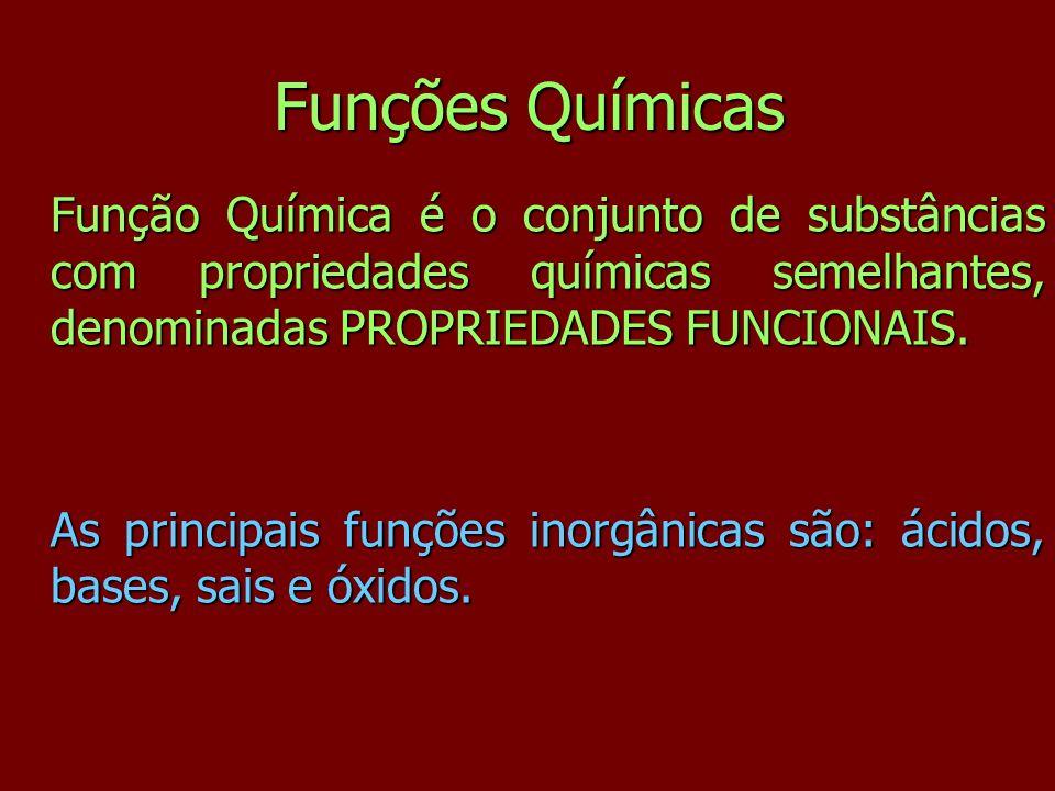 Funções Químicas Função Química é o conjunto de substâncias com propriedades químicas semelhantes, denominadas PROPRIEDADES FUNCIONAIS. As principais