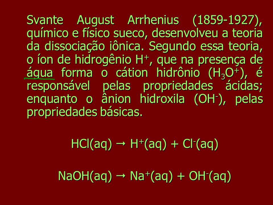 Svante August Arrhenius (1859-1927), químico e físico sueco, desenvolveu a teoria da dissociação iônica. Segundo essa teoria, o íon de hidrogênio H +,