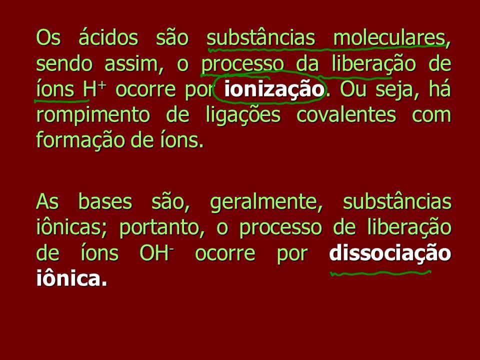 Os ácidos são substâncias moleculares, sendo assim, o processo da liberação de íons H + ocorre por ionização. Ou seja, há rompimento de ligações coval