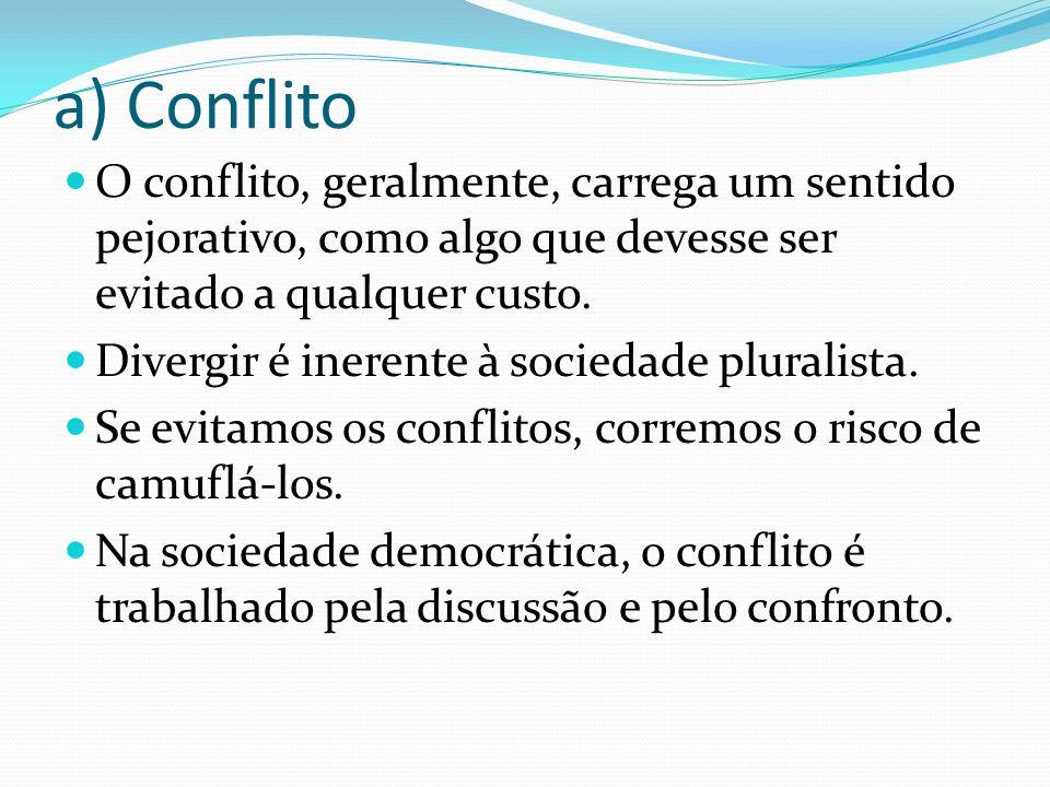 a) Conflito O conflito, geralmente, carrega um sentido pejorativo, como algo que devesse ser evitado a qualquer custo. Divergir é inerente à sociedade
