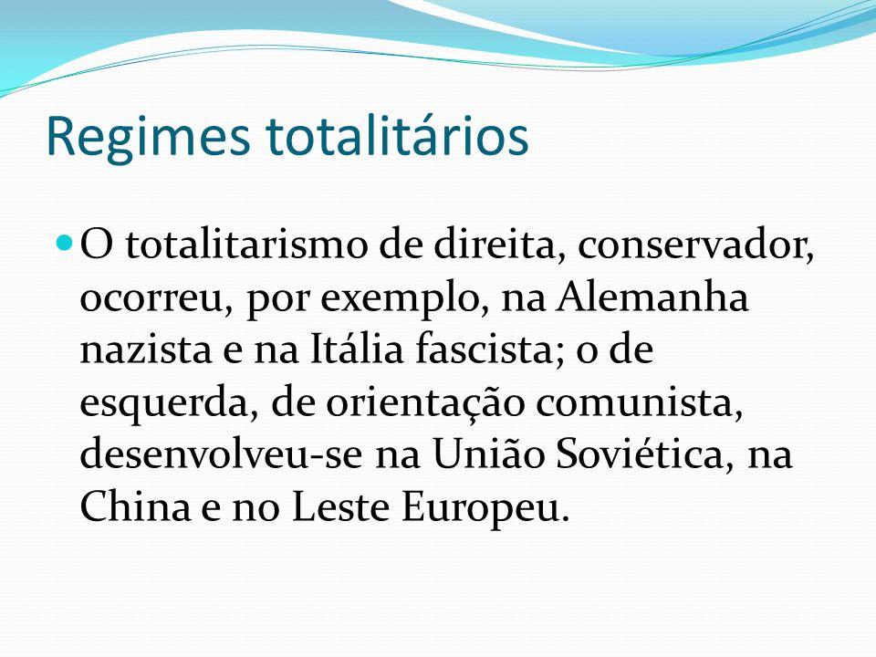 Regimes totalitários O totalitarismo de direita, conservador, ocorreu, por exemplo, na Alemanha nazista e na Itália fascista; o de esquerda, de orient