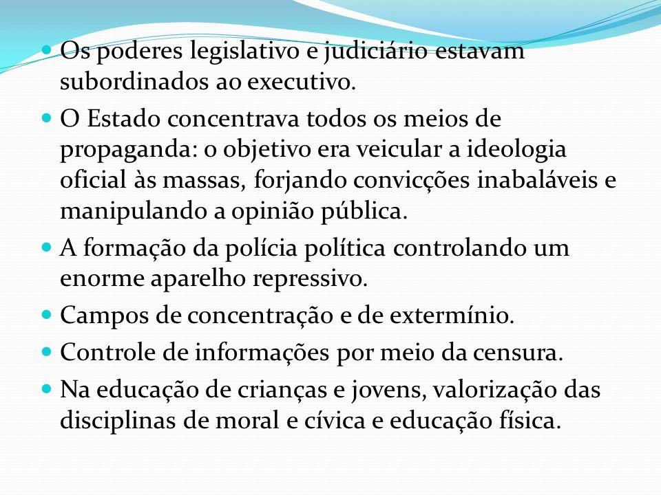 Os poderes legislativo e judiciário estavam subordinados ao executivo. O Estado concentrava todos os meios de propaganda: o objetivo era veicular a id