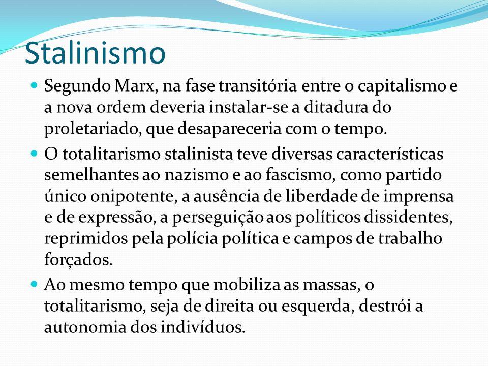 Stalinismo Segundo Marx, na fase transitória entre o capitalismo e a nova ordem deveria instalar-se a ditadura do proletariado, que desapareceria com