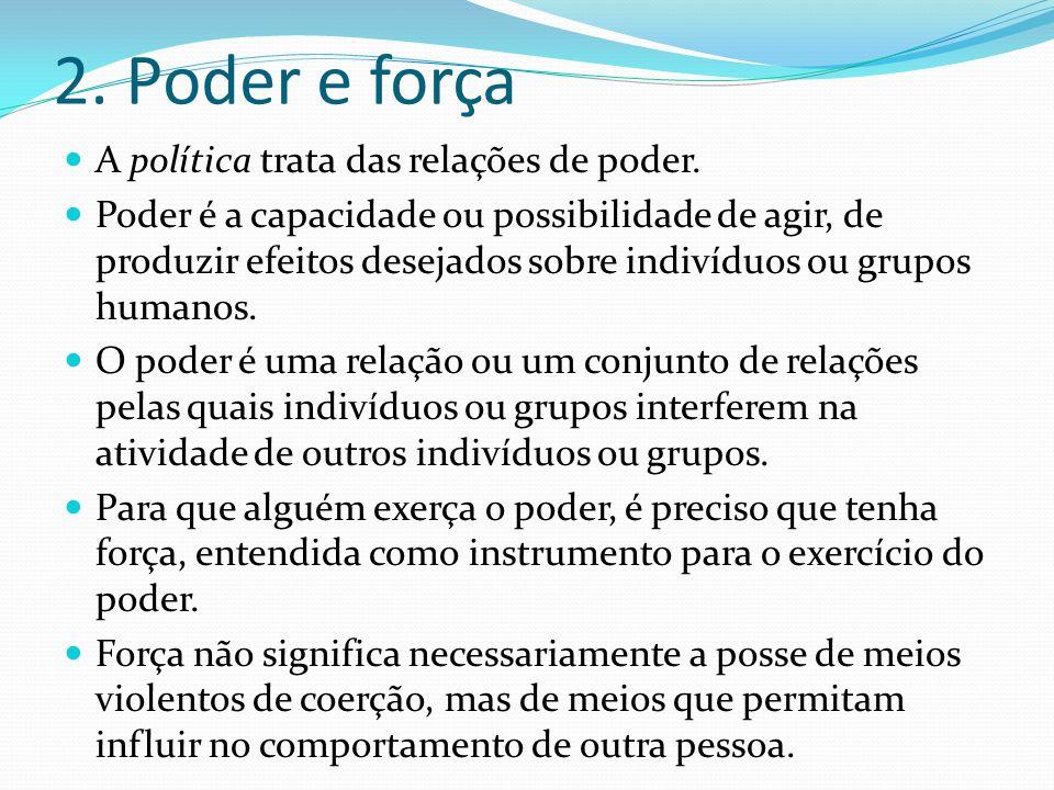2. Poder e força A política trata das relações de poder. Poder é a capacidade ou possibilidade de agir, de produzir efeitos desejados sobre indivíduos