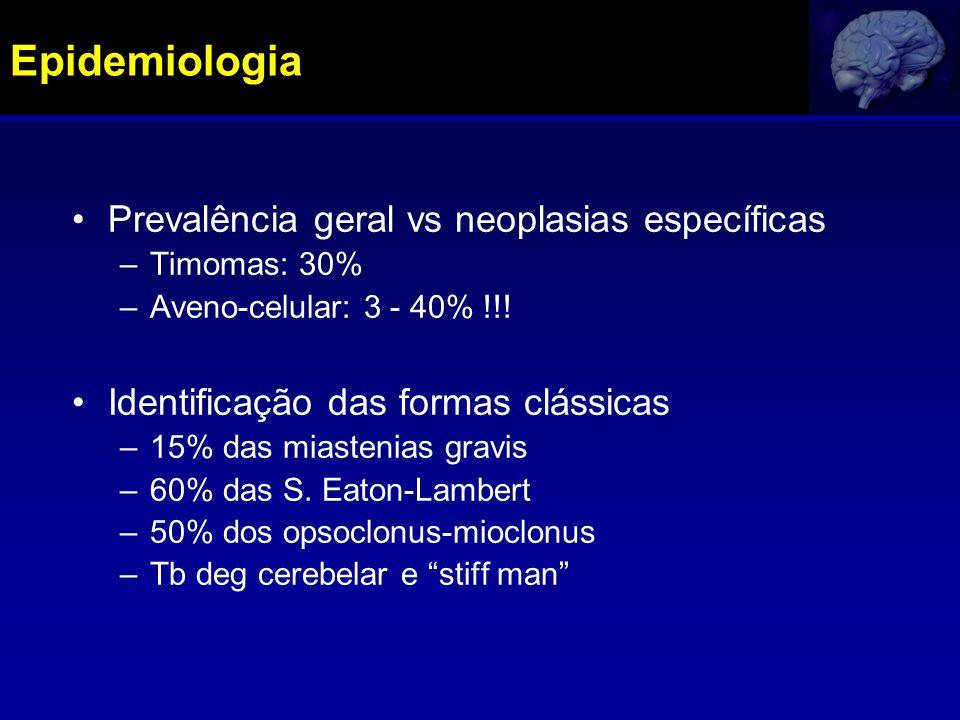 Epidemiologia Prevalência geral vs neoplasias específicas –Timomas: 30% –Aveno-celular: 3 - 40% !!! Identificação das formas clássicas –15% das miaste