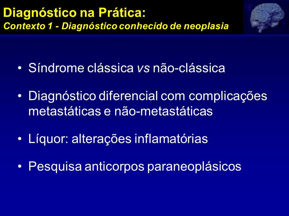 Diagnóstico na Prática: Contexto 1 - Diagnóstico conhecido de neoplasia Síndrome clássica vs não-clássica Diagnóstico diferencial com complicações met