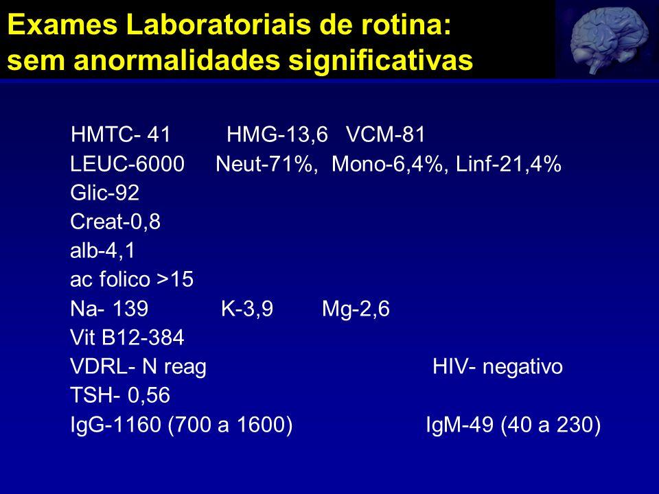 HMTC- 41 HMG-13,6 VCM-81 LEUC-6000 Neut-71%, Mono-6,4%, Linf-21,4% Glic-92 Creat-0,8 alb-4,1 ac folico >15 Na- 139 K-3,9 Mg-2,6 Vit B12-384 VDRL- N re