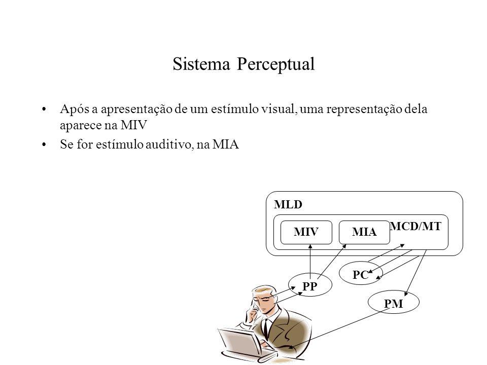 Sistema Perceptual Após a apresentação de um estímulo visual, uma representação dela aparece na MIV Se for estímulo auditivo, na MIA PP PC PM MLD MCD/