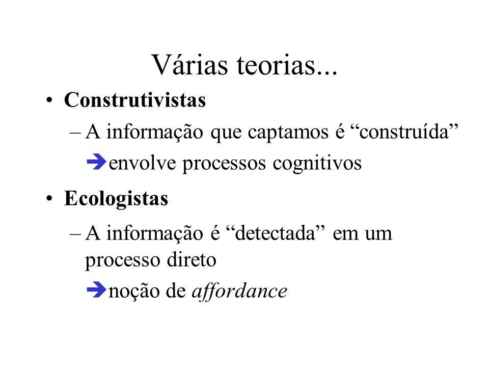 Várias teorias... Construtivistas –A informação que captamos é construída envolve processos cognitivos Ecologistas –A informação é detectada em um pro