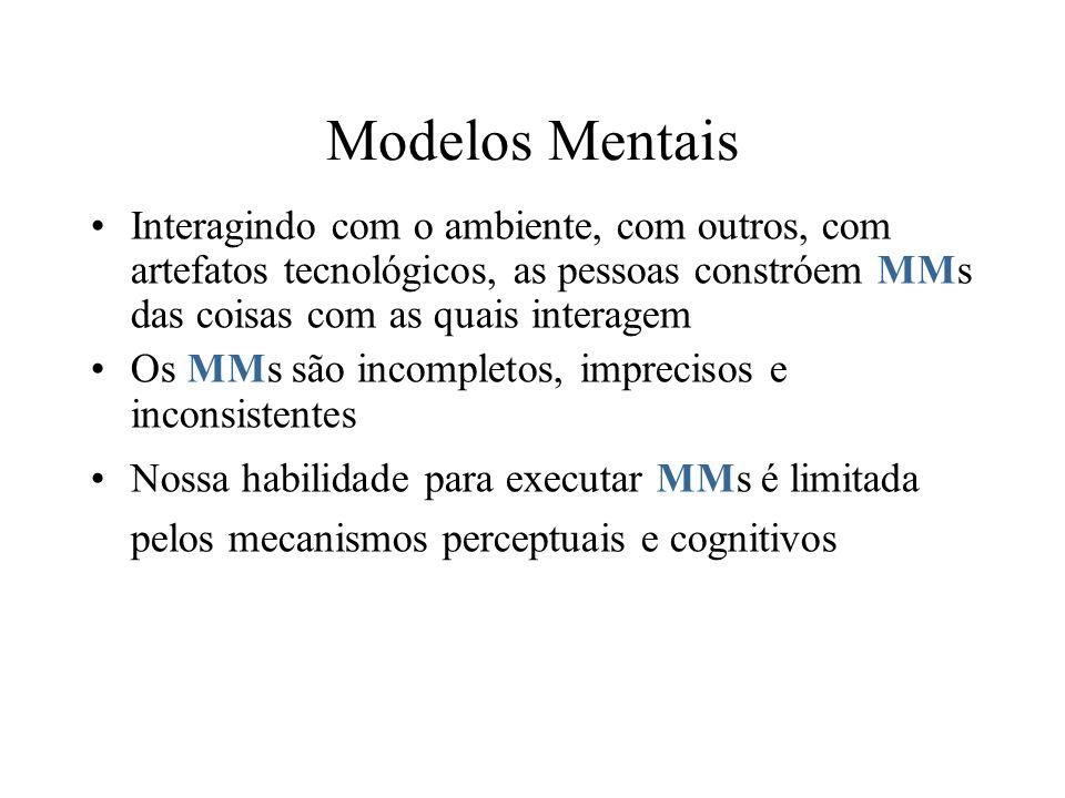 Modelos Mentais Interagindo com o ambiente, com outros, com artefatos tecnológicos, as pessoas constróem MMs das coisas com as quais interagem Os MMs são incompletos, imprecisos e inconsistentes Nossa habilidade para executar MMs é limitada pelos mecanismos perceptuais e cognitivos