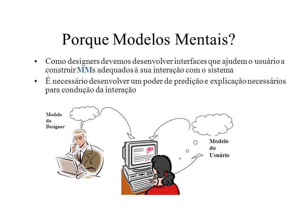 Porque Modelos Mentais? Como designers devemos desenvolver interfaces que ajudem o usuário a construir MMs adequados à sua interação com o sistema É n