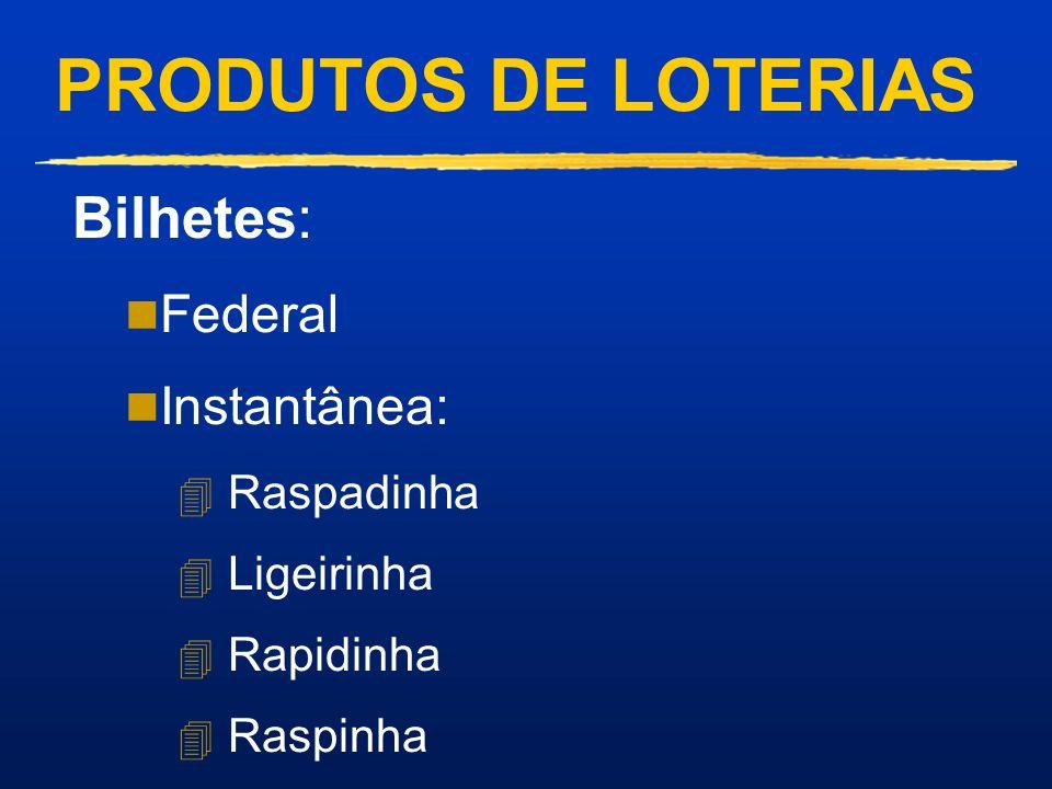 PRODUTOS DE LOTERIAS Prognósticos: n Mega-Sena n Dupla Sena n Quina n Lotomania n Esportiva n Bolão Federal