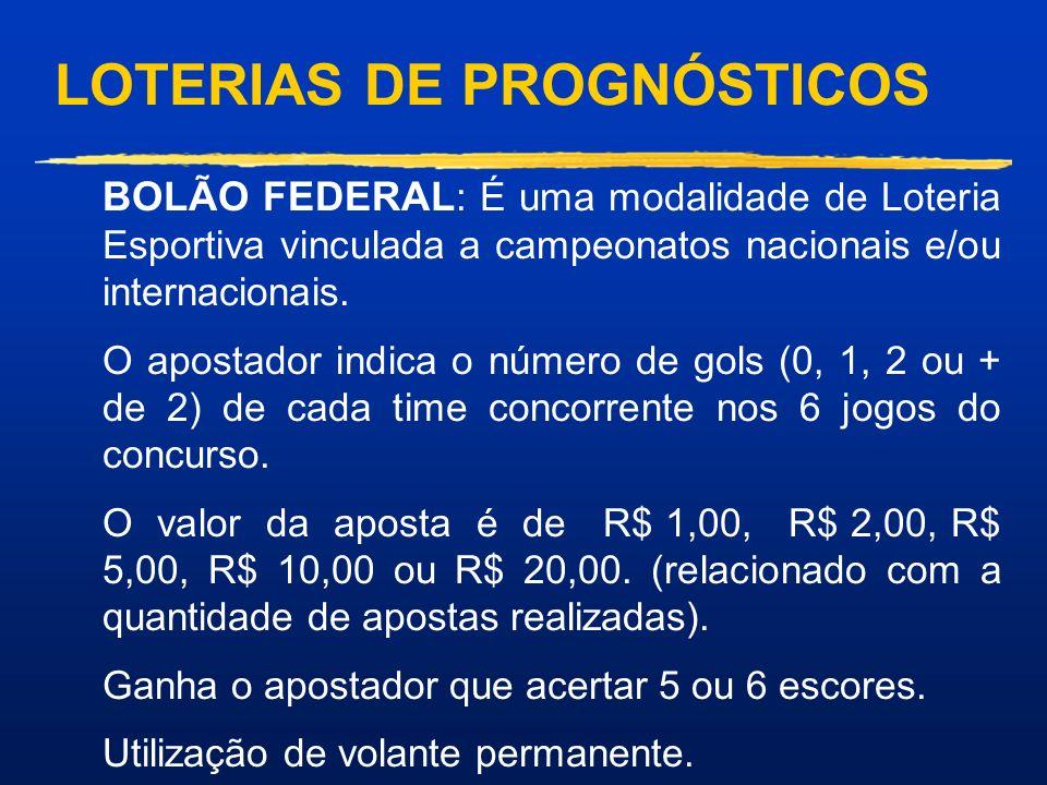 LOTERIAS DE PROGNÓSTICOS ESPORTIVA : O apostador indica os resultados de uma série de 13 jogos de futebol. O valor mínimo é de 2 apostas (1 duplo) e o