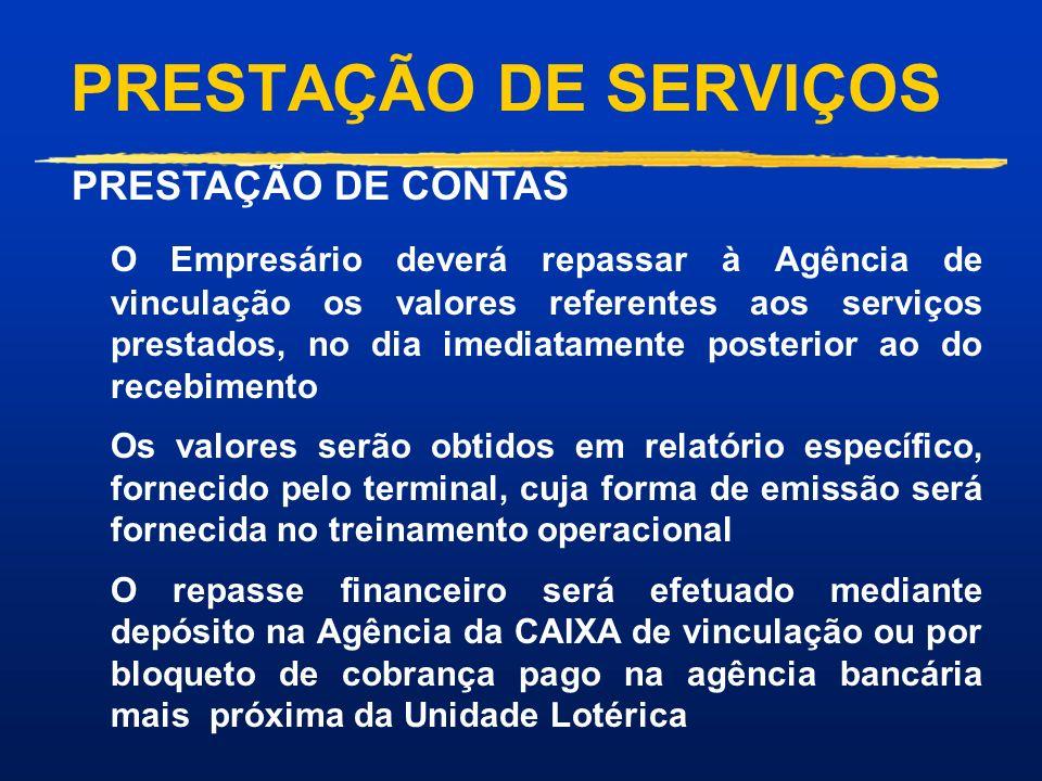 PRESTAÇÃO DE SERVIÇOS VANTAGENS: Representa excelente oportunidade de aumentar as vendas dos produtos lotéricos. Tecnologia de Ponta, Segurança na tra