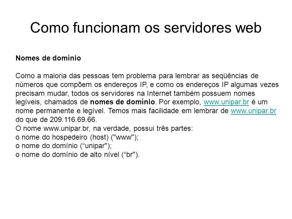 Como funcionam os servidores web Introdução Foto cedida por Shopping.com Servidor IBM Netfinity 5500 8660 Nomes de domínio Como a maioria das pessoas