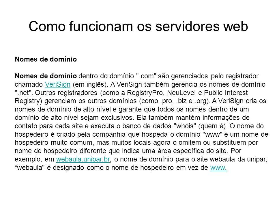 Como funcionam os servidores web Introdução Foto cedida por Shopping.com Servidor IBM Netfinity 5500 8660 Nomes de domínio Nomes de domínio dentro do