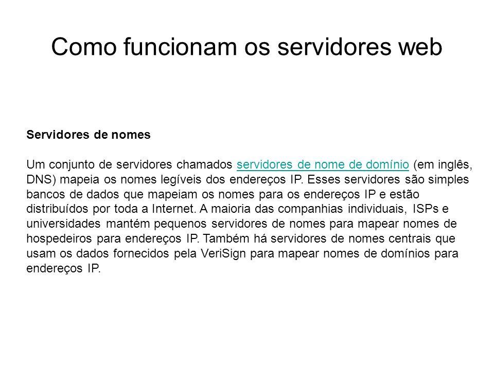 Como funcionam os servidores web Introdução Foto cedida por Shopping.com Servidor IBM Netfinity 5500 8660 Servidores de nomes Um conjunto de servidore