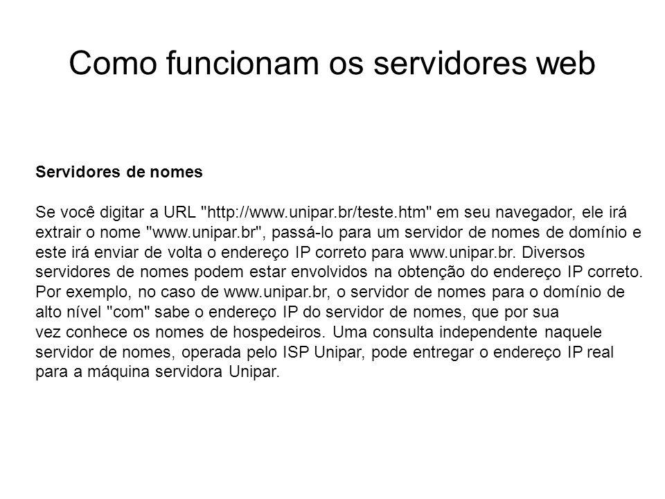 Como funcionam os servidores web Introdução Foto cedida por Shopping.com Servidor IBM Netfinity 5500 8660 Servidores de nomes Se você digitar a URL