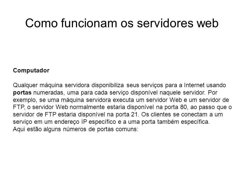 Como funcionam os servidores web Introdução Foto cedida por Shopping.com Servidor IBM Netfinity 5500 8660 Computador Qualquer máquina servidora dispon