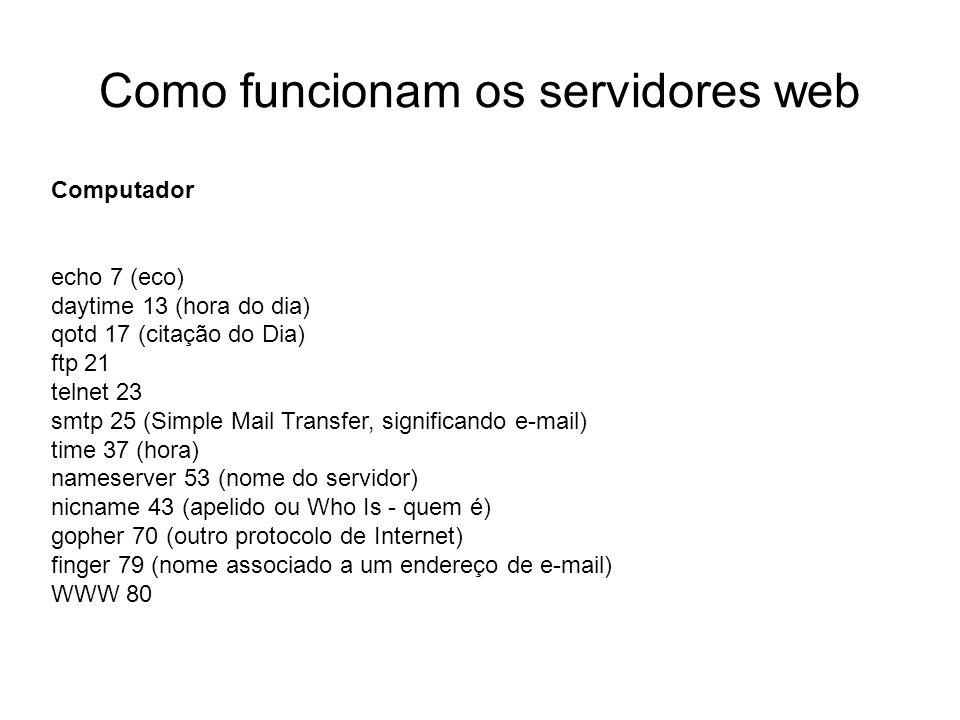 Como funcionam os servidores web Introdução Foto cedida por Shopping.com Servidor IBM Netfinity 5500 8660 Computador echo 7 (eco) daytime 13 (hora do