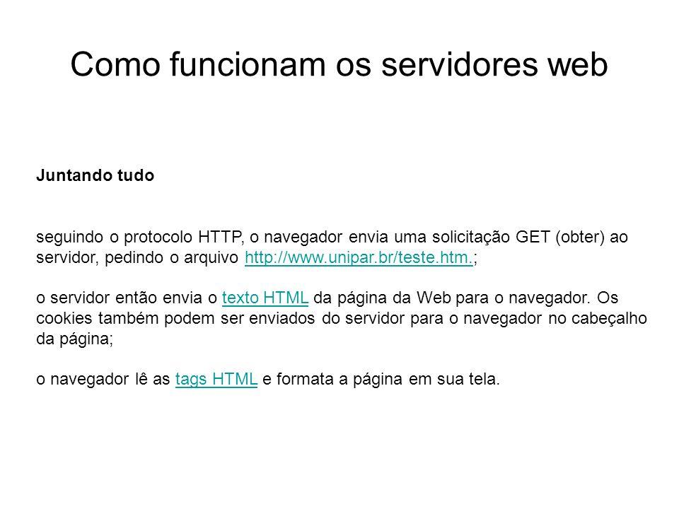 Como funcionam os servidores web Introdução Foto cedida por Shopping.com Servidor IBM Netfinity 5500 8660 Juntando tudo seguindo o protocolo HTTP, o n