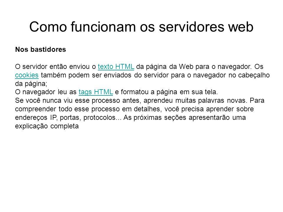 Nos bastidores O servidor então enviou o texto HTML da página da Web para o navegador. Os cookies também podem ser enviados do servidor para o navegad