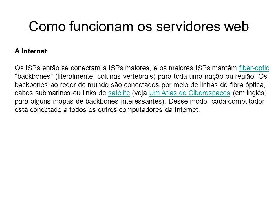 Como funcionam os servidores web Introdução Foto cedida por Shopping.com Servidor IBM Netfinity 5500 8660 A Internet Os ISPs então se conectam a ISPs