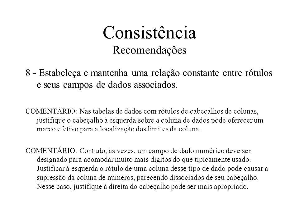 Consistência Recomendações 8 - Estabeleça e mantenha uma relação constante entre rótulos e seus campos de dados associados. COMENTÁRIO: Nas tabelas de