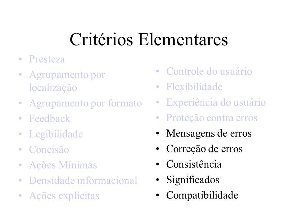 Critérios Elementares Presteza Agrupamento por localização Agrupamento por formato Feedback Legibilidade Concisão Ações Mínimas Densidade informaciona