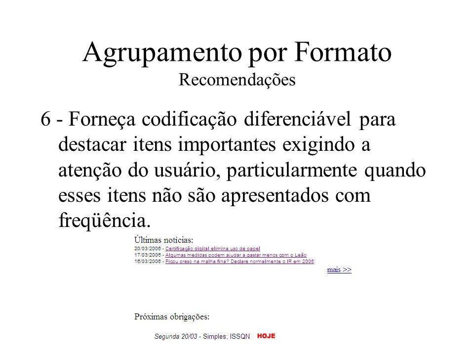Agrupamento por Formato Recomendações 6 - Forneça codificação diferenciável para destacar itens importantes exigindo a atenção do usuário, particularm