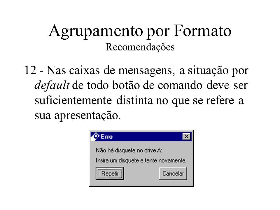 Agrupamento por Formato Recomendações 12 - Nas caixas de mensagens, a situação por default de todo botão de comando deve ser suficientemente distinta