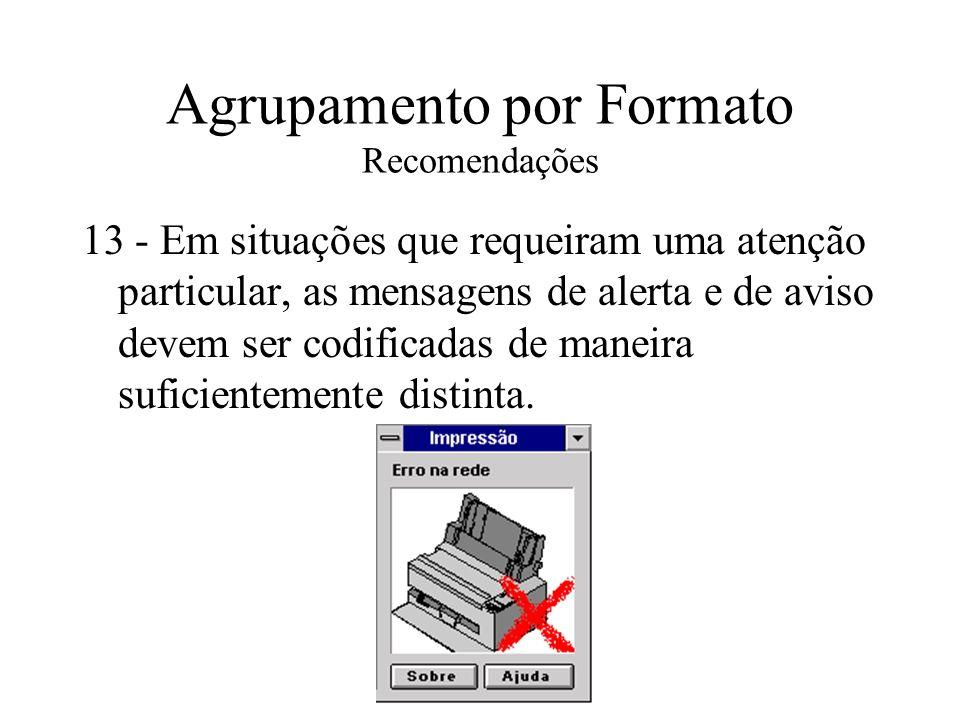 Agrupamento por Formato Recomendações 13 - Em situações que requeiram uma atenção particular, as mensagens de alerta e de aviso devem ser codificadas