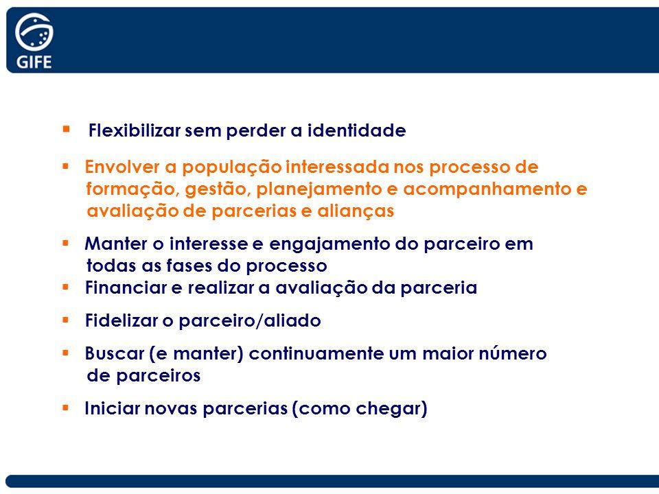 Flexibilizar sem perder a identidade Envolver a população interessada nos processo de formação, gestão, planejamento e acompanhamento e avaliação de p