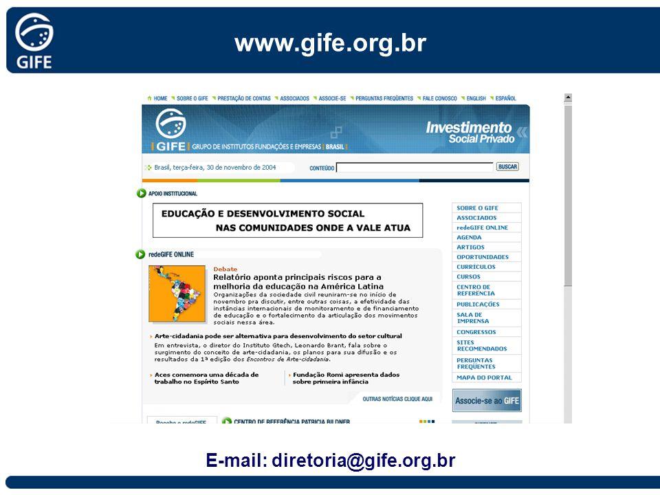 www.gife.org.br E-mail: diretoria@gife.org.br