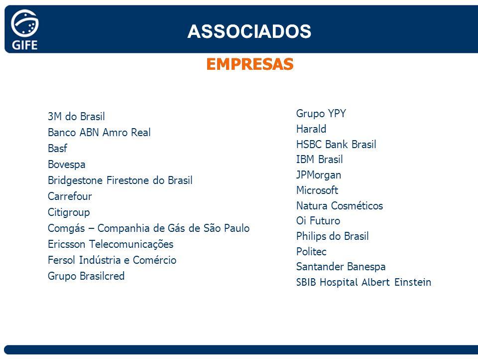 3M do Brasil Banco ABN Amro Real Basf Bovespa Bridgestone Firestone do Brasil Carrefour Citigroup Comgás – Companhia de Gás de São Paulo Ericsson Tele
