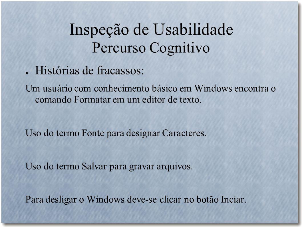 Inspeção de Usabilidade Percurso Cognitivo Histórias de fracassos: Um usuário com conhecimento básico em Windows encontra o comando Formatar em um edi